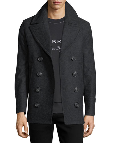Kirkham Double-Breasted Wool Pea Coat, Charcoal