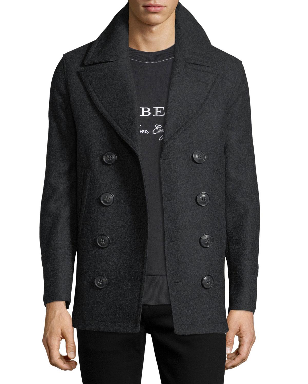 7f9eac52e Burberry Kirkham Double-Breasted Wool Pea Coat