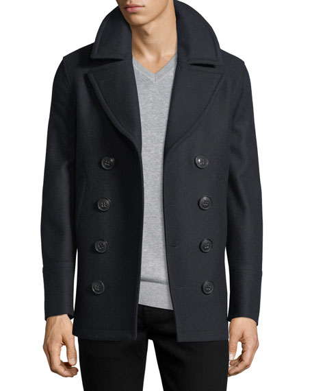 Burberry Kirkham Double-Breasted Wool Pea Coat, Navy