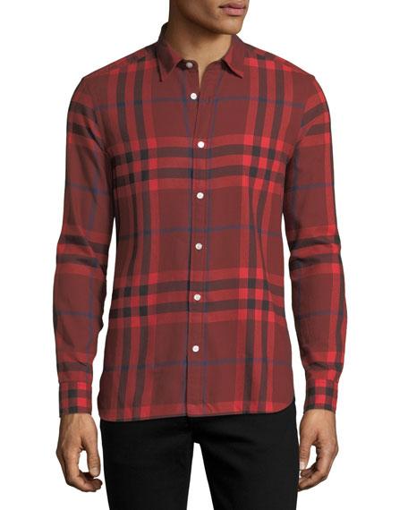 Burberry Salwick Check-Print Shirt, Red