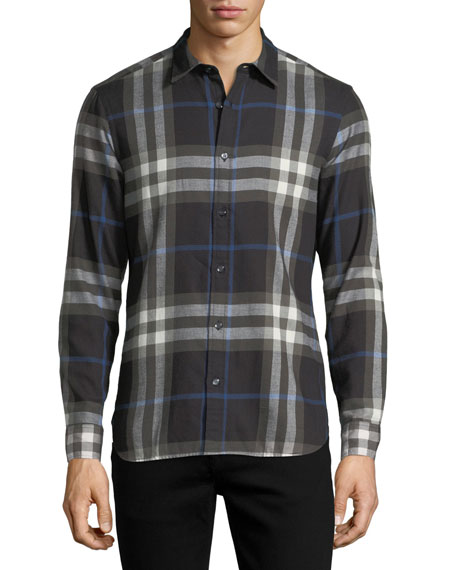 Burberry Salwick Check-Print Shirt, Black