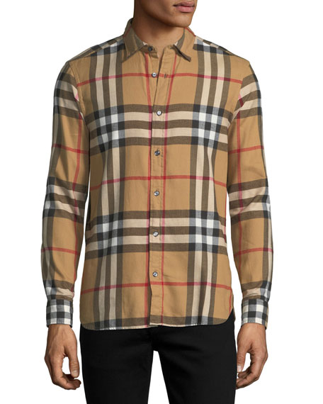 Burberry Salwick Check-Print Shirt, Beige