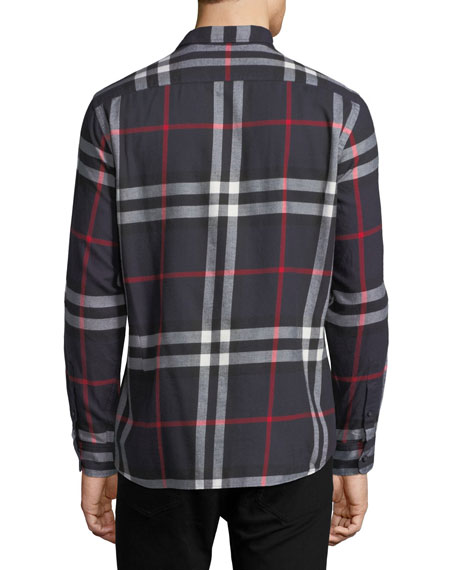 Salwick Check-Print Shirt, Navy