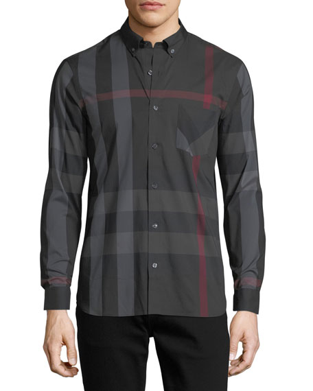 Thornaby Check-Print Shirt, Charcoal
