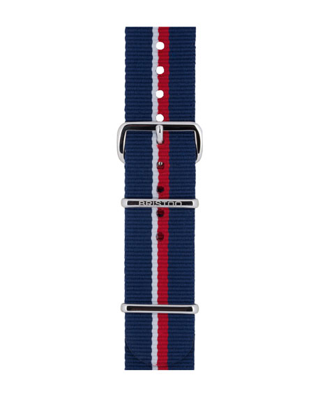 20mm Royal Navy Striped Nylon Watch Strap, Blue/Red