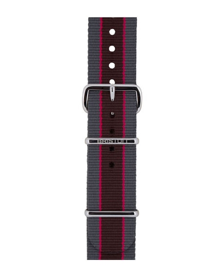 Briston 20mm Riffle Striped Nylon Watch Strap, Gray/Pink/Brown