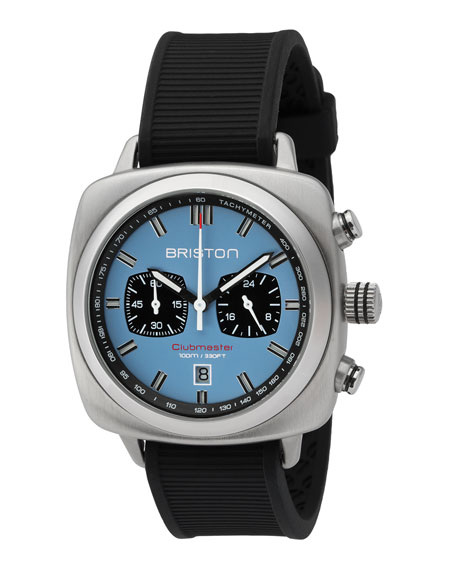 Briston Clubmaster Sport Chronograph Watch, Black/Light Blue
