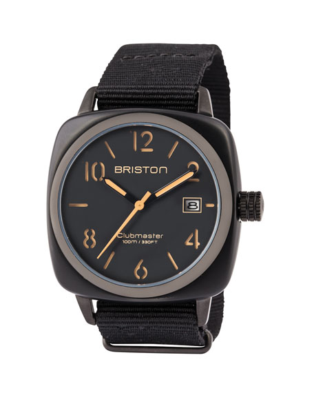 Briston Clubmaster Classic HMS Date Watch, Black