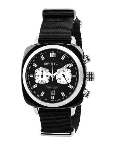Clubmaster Sport Acetate Chronograph Watch, Black/White
