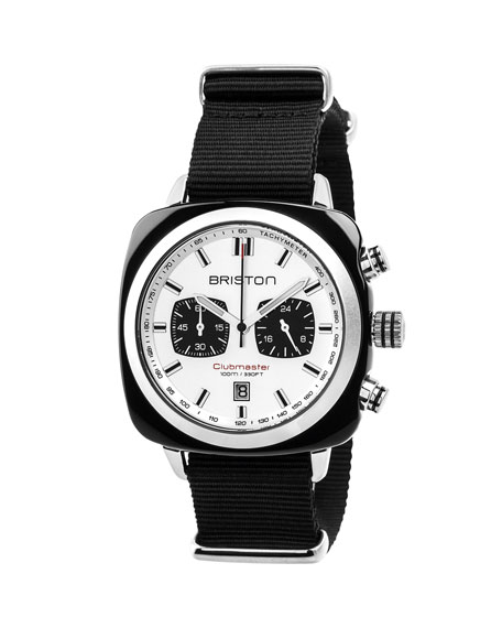 Clubmaster Sport Acetate Chronograph Watch, White/Black