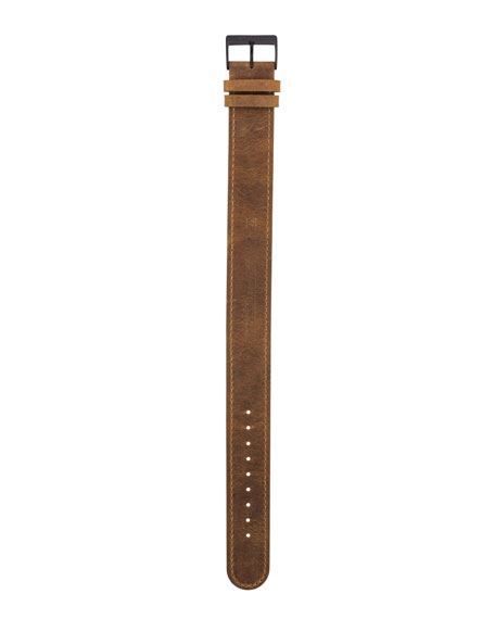 Briston 20mm Leather Watch Strap w/ Matte Buckle,