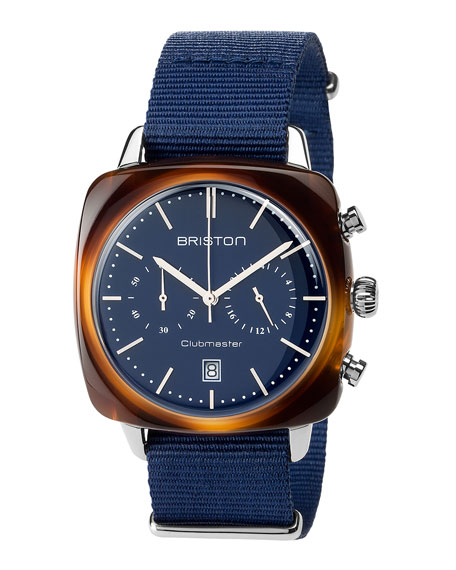 Briston Clubmaster Vintage Acetate Chronograph Watch, Tortoise/Blue