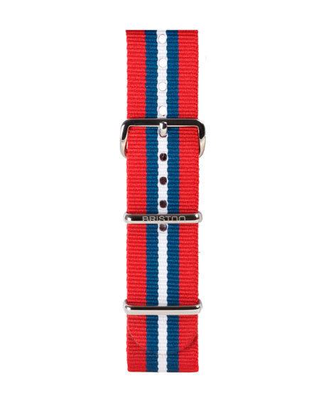 Briston 20mm Striped Nylon Watch Strap, Red/Blue/White