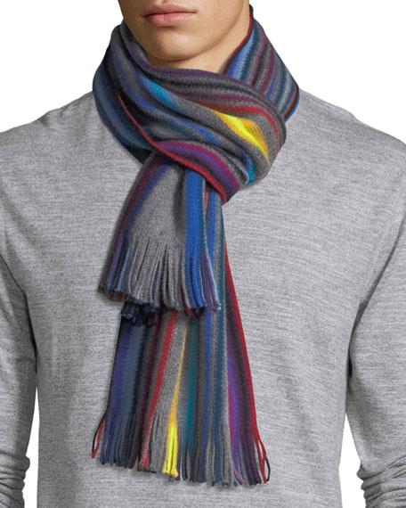Raschel Neon-Striped Wool Scarf