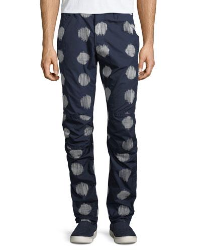 Kimono-Print Cotton Jeans