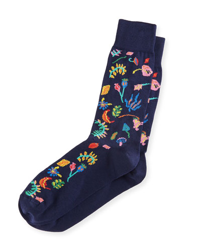 Garden Floral Intarsia Socks