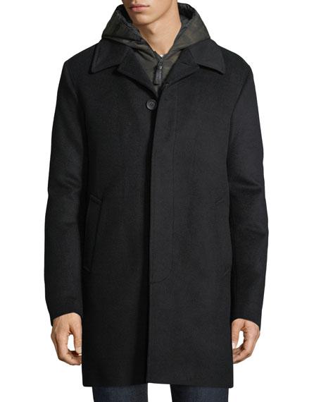 Wool-Blend Coat w/ Removable Down Bib