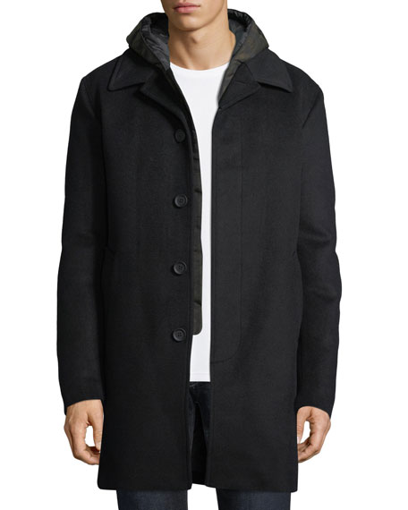 Mackage Wool-Blend Coat w/ Removable Down Bib