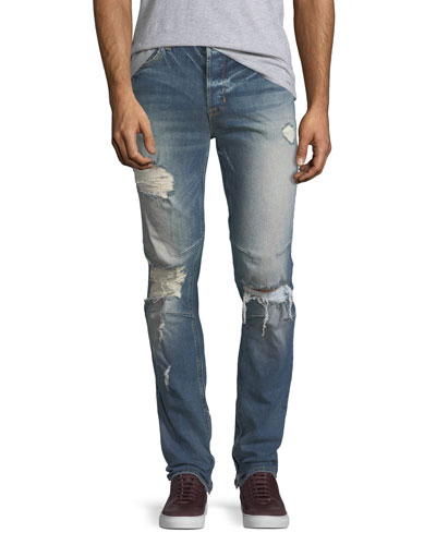 Vaughn Skinny Ankle-Zip Destructed Jeans in Killz