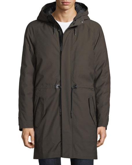 Twill Zip-Front Parka Coat