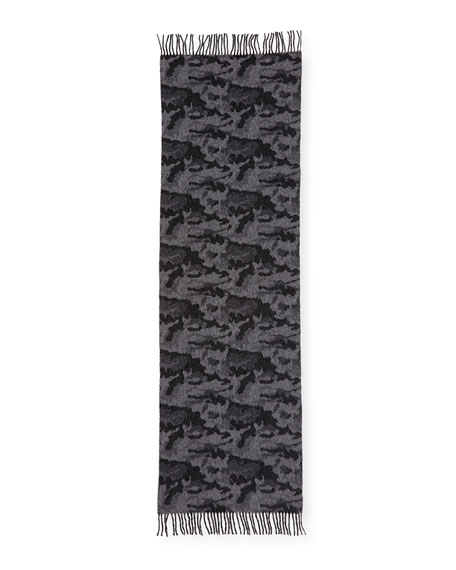 Wool-Blend Camouflage-Print Scarf