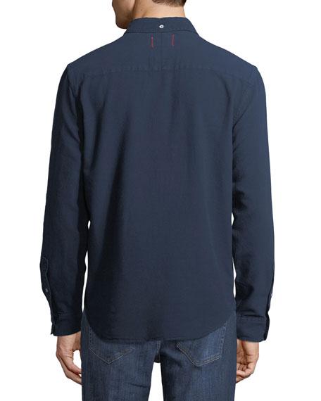 Men's Classic Solid-Color Woven Sport Shirt