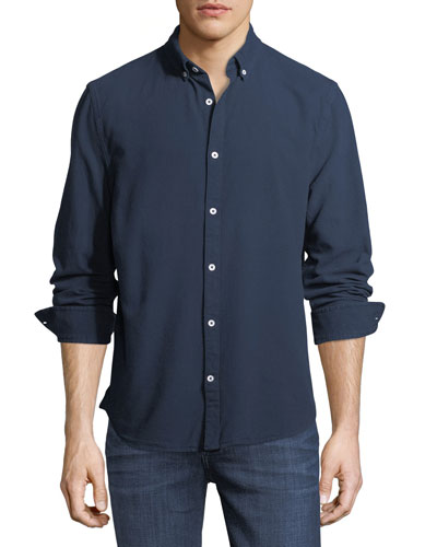 Classic Solid-Color Woven Sport Shirt