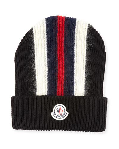 Men's Wool-Blend Striped Logo Beanie Hat