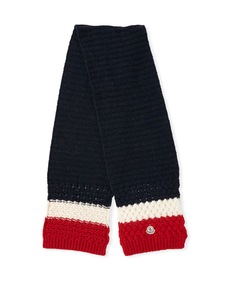 Tricolor Knit Wool-Blend Scarf