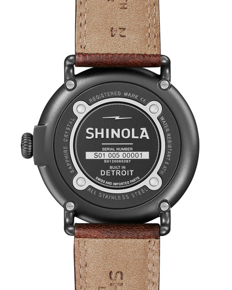 Runwell 47mm Watch with Brown Leather Strap