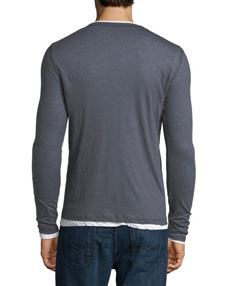 Long-Sleeve Double-Layer Cotton/Cashmere V-Neck T-Shirt