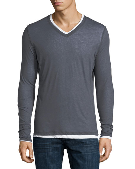Majestic Long-Sleeve Double-Layer Cotton/Cashmere V-Neck T-Shirt