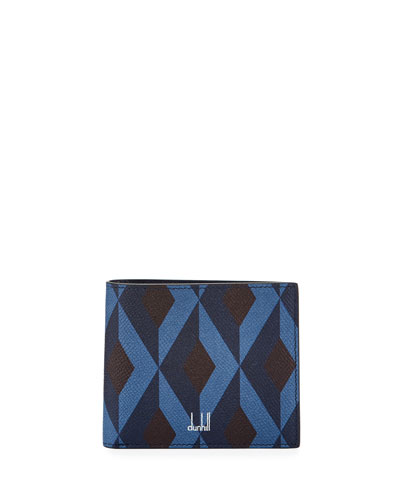Cadogan Diamond-Print Leather Bi-Fold Wallet