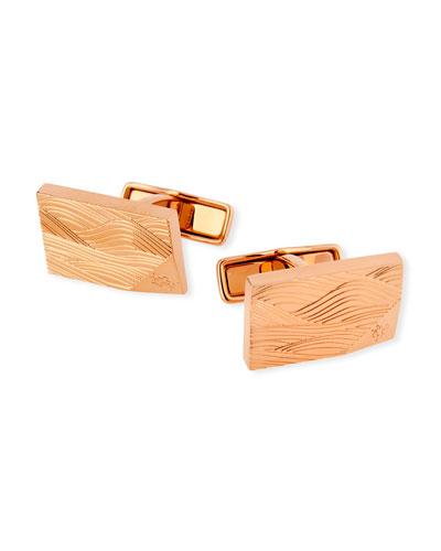 Wave-Embossed Pink Gold-Plated Cuff Links