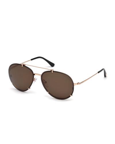 Dickon Monochromatic Aviator Sunglasses
