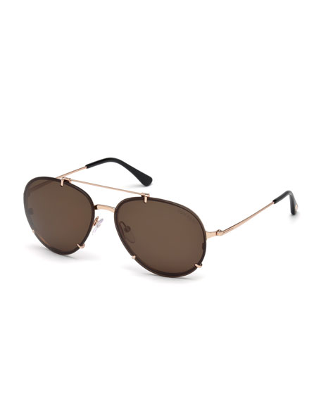 TOM FORD Dickon Monochromatic Aviator Sunglasses