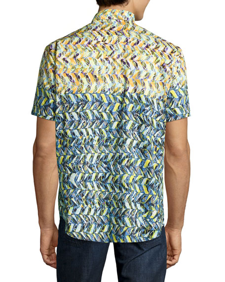 Kalawo Multi-Print Short-Sleeve Sport Shirt, Multi
