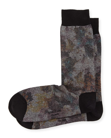 Metal Foliage-Print Cotton Socks