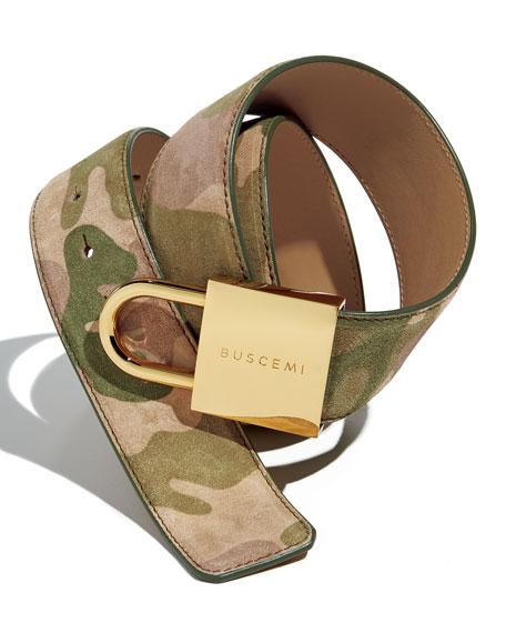 Camouflage-Print Lock-Buckle Leather Belt
