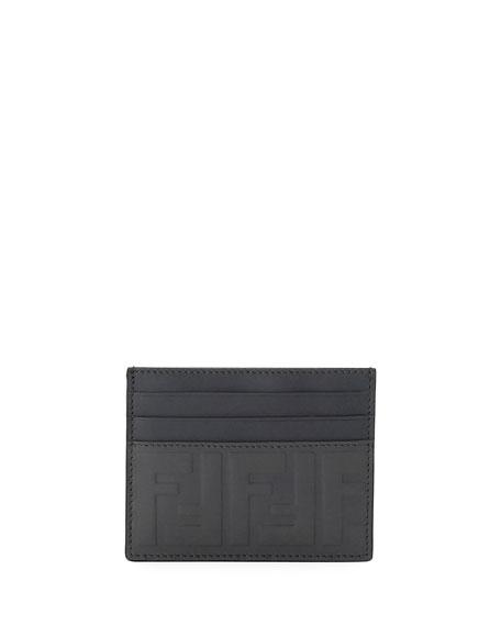 Fendi Signature Embossed-Leather Card Case