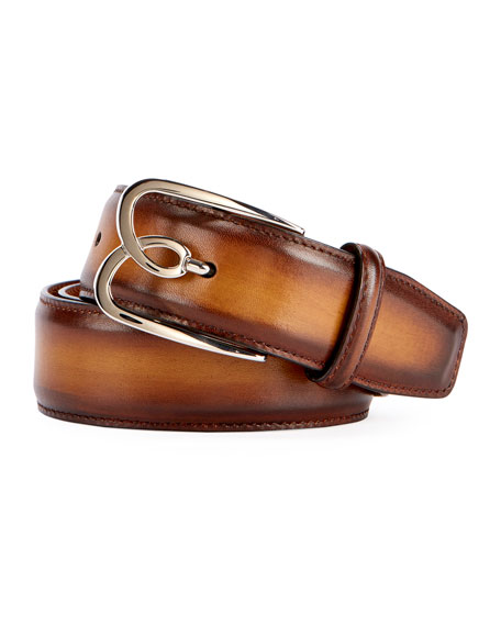 Metal-Logo Leather Belt, Tobacco