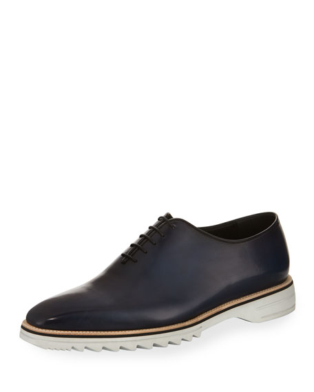 Venezia Leather Lug-Sole Lace-Up Shoe