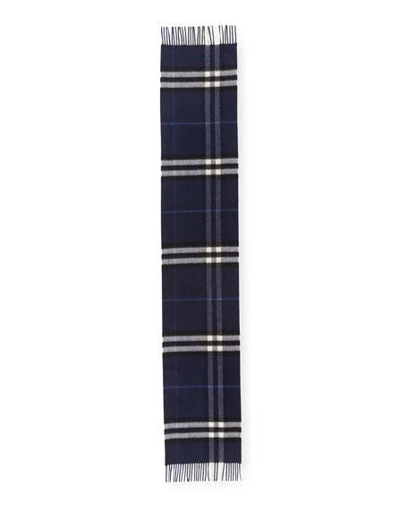 Men's Giant-Check Cashmere Scarf, Blue