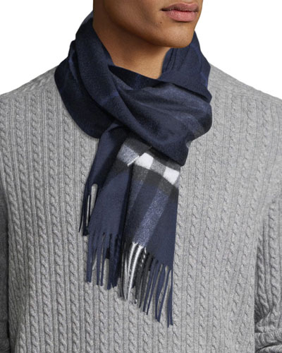 Men's Giant-Check Cashmere Scarf  Blue