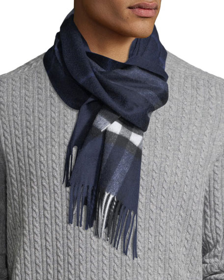 Burberry Men's Giant-Check Cashmere Scarf, Blue