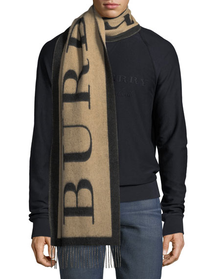 Burberry Logo Text Cashmere Scarf