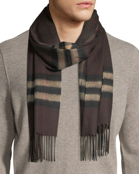 Burberry Men's Giant-Check Cashmere Scarf, Brown