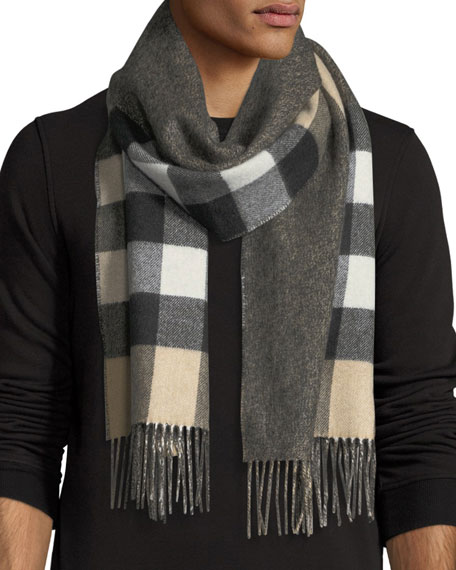Burberry Men's Slim Cashmere Mega-Check to Solid Scarf