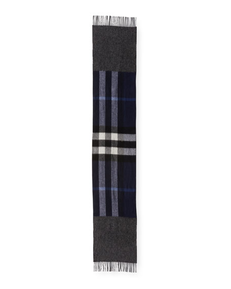 Men's Slim Cashmere Mega-Check to Solid Scarf, Blue