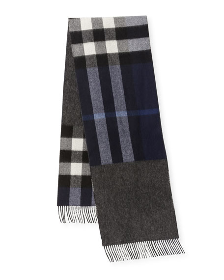 Men's Slim Cashmere Mega-Check to Solid Scarf, Blue